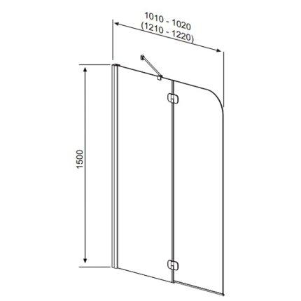 Paravan cada Radaway Torrenta PND/L, element fix + element mobil, 121 cm, orientare stanga, profil crom