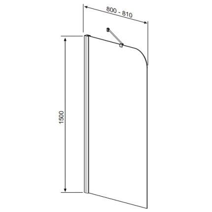 Paravan cada Radaway Torrenta PNJ/L, un element fix, 80 cm, orientare stanga, profil crom