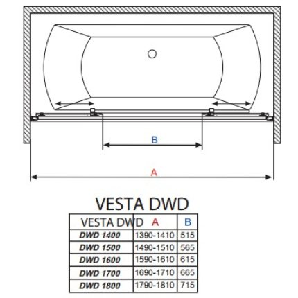 Paravan cada Radaway Vesta DWD 150, doua usi culisante, 150 cm, pentru montaj in nisa