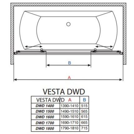 Paravan cada Radaway Vesta DWD 160, doua usi culisante, 160 cm, pentru montaj in nisa