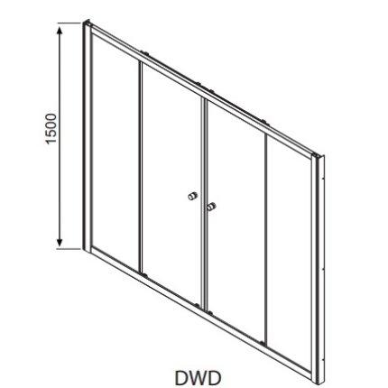 Paravan cada Radaway Vesta DWD 180, doua usi culisante, 180 cm, pentru montaj in nisa