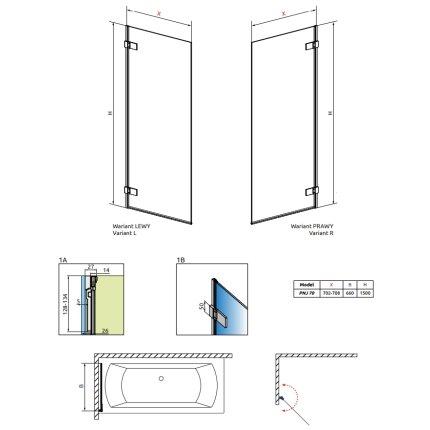Paravan cada Radaway Arta PNJ 70 L, un element mobil, 70x150cm, deschidere stanga