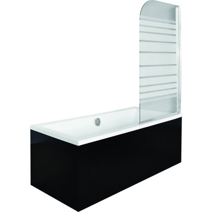 Paravan cada Besco Ambition 1, un element mobil, 75 x 130 cm, sticla opaca 5 mm, profil crom