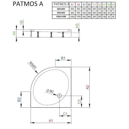 Cadita de dus semirotunda Radaway Patmos A 100x100 cm
