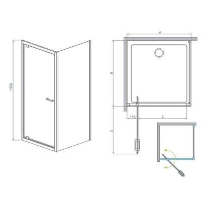 Perete fix Radaway Twist S 100 cm, sticla anticalcar 6 mm