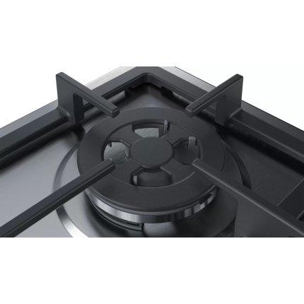 Plita gaz incorporabila Bosch PGH6B5B90 Serie 4, 60cm, 4 arzatoare, gratare fonta, inox