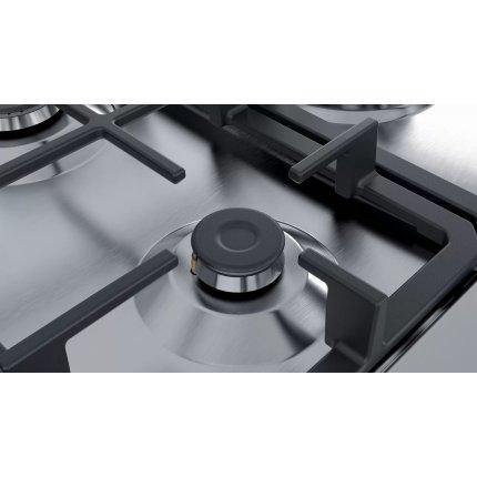 Plita gaz incorporabila Bosch PGQ7B5B90 Serie 4, 75cm, 5 arzatoare, gratare fonta, inox