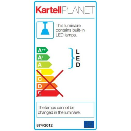 Suspensie Kartell Planet design Tokujin Yoshioka, LED, d31cm, h27cm, galben