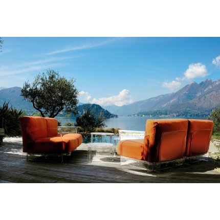 Canapea Kartell Pop Duo design Piero Lissoni & Carlo Tamborini, cadru transparent, tapiterie Nile, orange