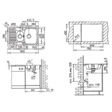 Chiuveta bucatarie Teka Princess 1 1/2 B 1/2 D, 800x500mm, picurator dreapta, inox microtexturat