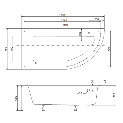 Cada asimetrica Besco Praktika 140 x 70 cm varianta stanga