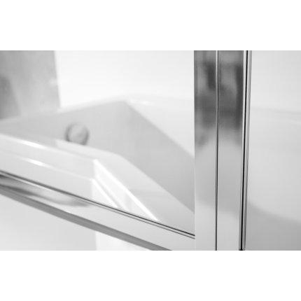 Paravan cada Besco Ambition Premium 3, trei elemente mobile, 130x140cm, sticla transparenta 4 mm, profil crom