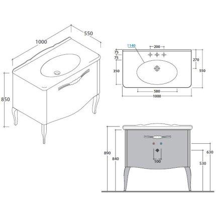 Dulap baza Globo Paestum pentru lavoar 100cm, 1 sertar, finisaj stejar alb