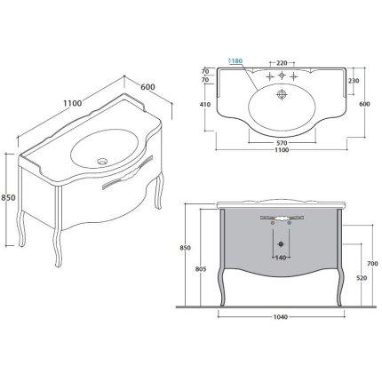 Dulap baza Globo Paestum pentru lavoar 110cm, 1 sertar, finisaj stejar negru