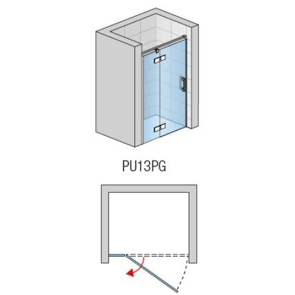Usa de dus pivotanta cu parte fixa Sanswiss Pur Aquaperle 140cm stanga, sticla securizata transparenta 8mm , profil crom