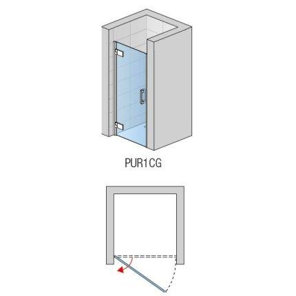 Usa de dus pivotanta Sanswiss Pur Aquaperle 90cm, stanga, sticla securizata transparenta 8mm, profil crom