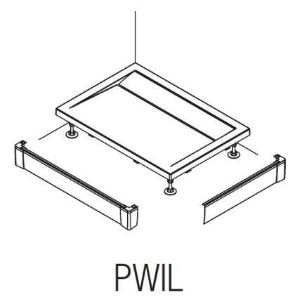 Set masca frontala si laterala pentru cadite de dus SanSwiss PWIL 70x120cm, h9.5cm, alb