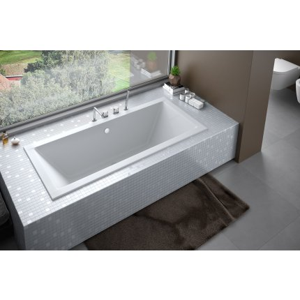 Cada baie rectangulara Besco Quadro Slim 180x80cm, acril, incastrabila