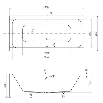 Cada rectangulara Besco Quadro 165x75cm, acril