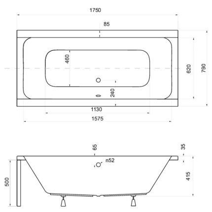 Cada rectangulara Besco Quadro 175x80cm, acril, echipata cu sistem de picioare si sifon de scurgere