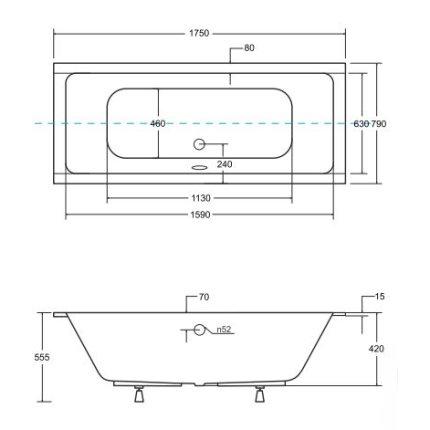 Cada baie rectangulara Besco Quadro Slim 175x80cm, acril, incastrabila