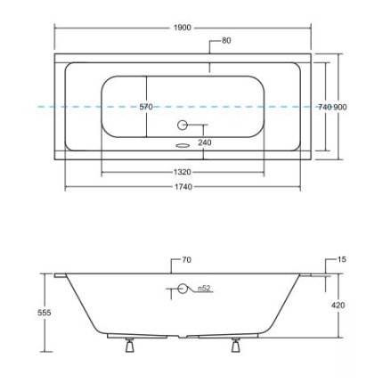 Cada baie rectangulara Besco Quadro Slim 190x90cm, acril, incastrabila