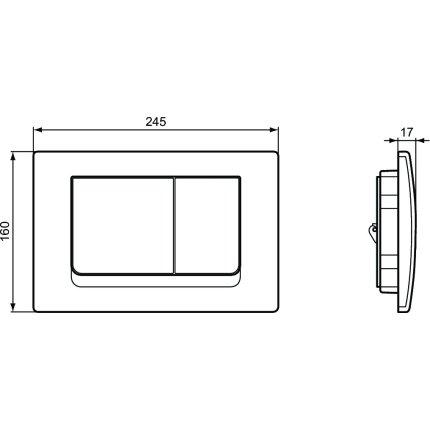 Set vas wc suspendat Ideal Standard Tesi Aquablade, capac Slim inchidere lenta, rezervor cu cadru ProSys si clapeta Oleas M1 crom