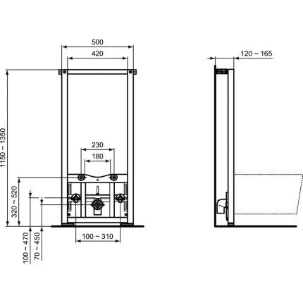 Cadru Ideal Standard ProSys pentru montare bideu