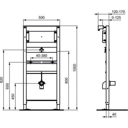 Cadru Ideal Standard ProSys universal pentru montare pisoar cu baterie incastrata