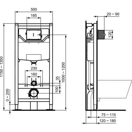 Rezervor incastrat Ideal Standard ProSys 120M de 12cm cu cadru si actionare frontala