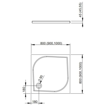 Cadita de dus patrata Radaway Delos C 100x100cm