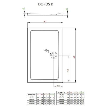 Cadita de dus dreptunghiulara Radaway Doros D 120x100cm