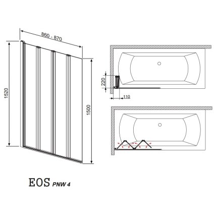 Paravan cada Radaway EOS PNW4, 4 elemente mobile, 86x152 cm, sticla transparenta, profil crom