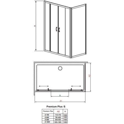 Perete lateral Radaway Premium Plus S75 75x190cm