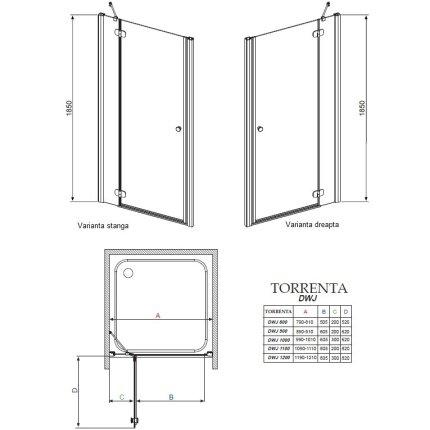 Usa de nisa Radaway Torrenta DWJ 120x185cm deschidere stanga