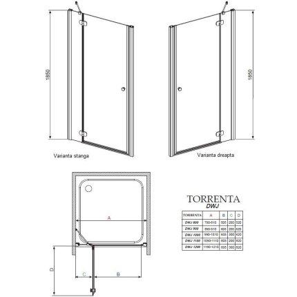 Usa de nisa Radaway Torrenta DWJ 90x185cm deschidere dreapta