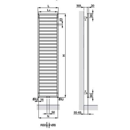 Radiator Zehnder Subway 973x450 mm, crom