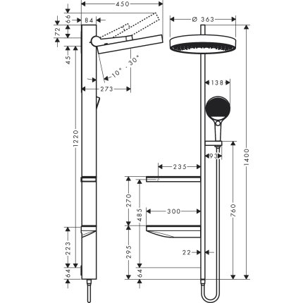 Coloana de dus Hansgrohe Rainfinity 360, 1 jet, fara baterie, crom