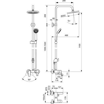 Sistem de dus Vidima SevaL cu baterie de cada, palarie de dus 200mm si dus de mana