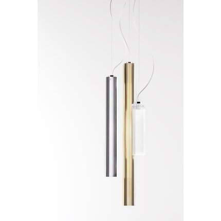 Suspensie Kartell by Laufen Rifly design Ludovica & Roberto Palomba, LED 10W, h90cm, auriu metalizat