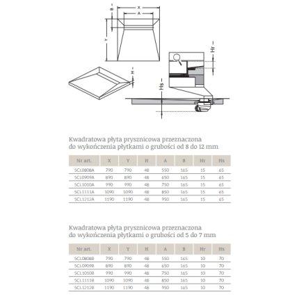 Kit rigola de dus Radaway RadaDrain 90x90cm placare 8-12mm