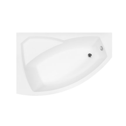 Cada baie asimetrica Besco Rima 160x100cm, acril, orientare stanga
