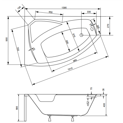 Cada baie asimetrica Besco Rima 140x90cm, acril, orientare stanga