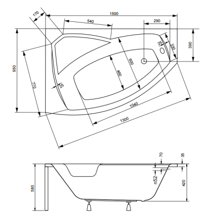 Cada asimetrica Besco Rima 150x95 cm varianta stanga