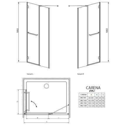 Usa de nisa batanta interior Radaway Carena DWJ 90x195cm deschidere stanga