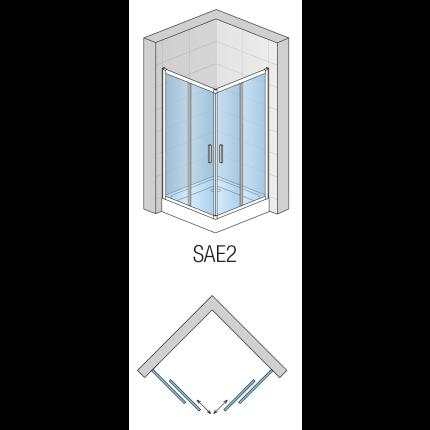 Cabina de dus SanSwiss Salia SAE2 cu usi culisante, 90x90cm, sticla securizata 6mm