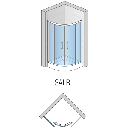 Cabina de dus semirotunda SanSwiss Salia SALR 90x90cm, sticla securizata 6mm