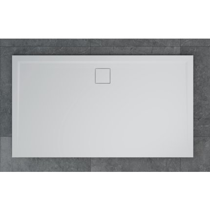 Cadita de dus dreptunghiulara SanSwiss Livada W20A, 70x140 cm slim, marmura sintetica, scurgerea pe latura lunga, alb