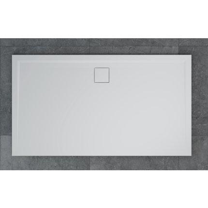 Cadita de dus dreptunghiulara SanSwiss Livada W20A, 90x160 cm slim, marmura sintetica, scurgerea pe latura lunga, alb