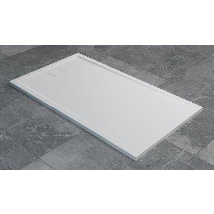 Cadita de dus dreptunghiulara SanSwiss Livada W20A, 80x100 cm slim, marmura sintetica, alb